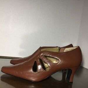 Retro brown Leather Heels New vintage pin-up shoes